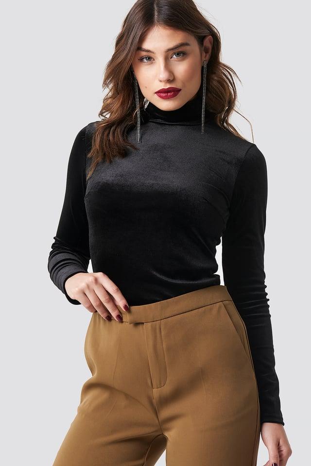Velvet Polo Top Black