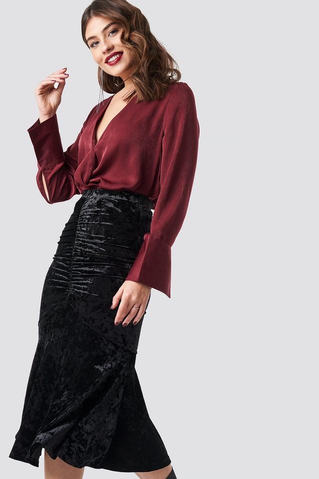 Velvet Ruched Skirt Black