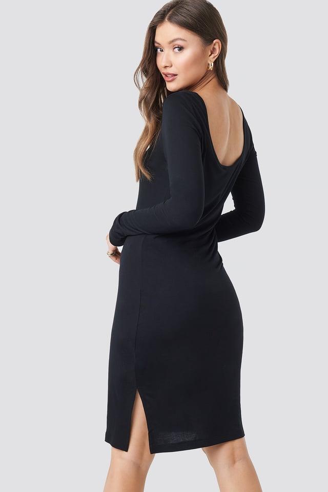 Viscose Deep Back Dress Black