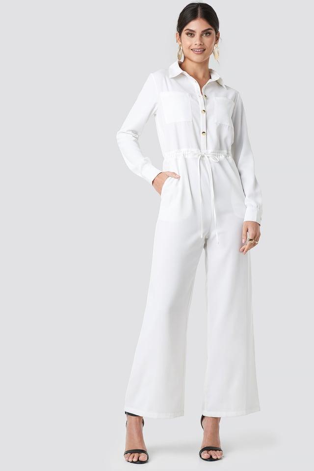 Wide Drawstring Jumpsuit White