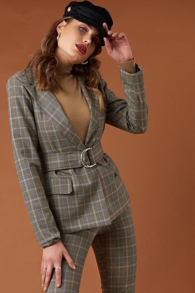 Wide Neck Belted Blazer Checkered