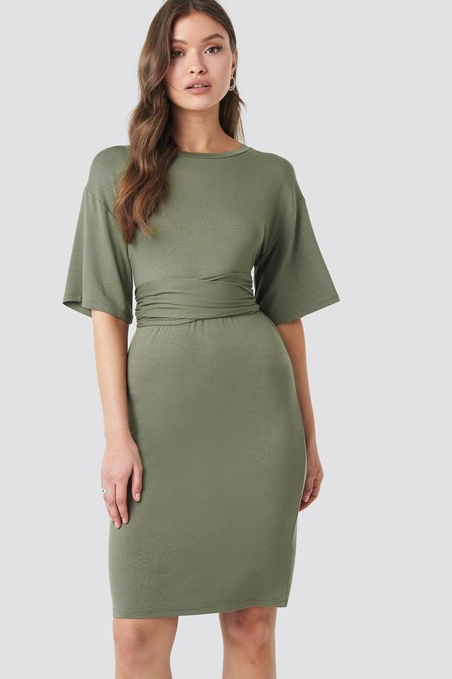 Wrapped Detail Jersey Dress Khaki