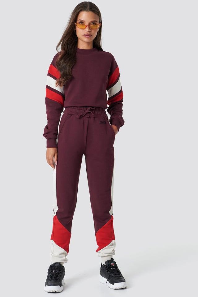 Blocked Sweatpants Dark Red