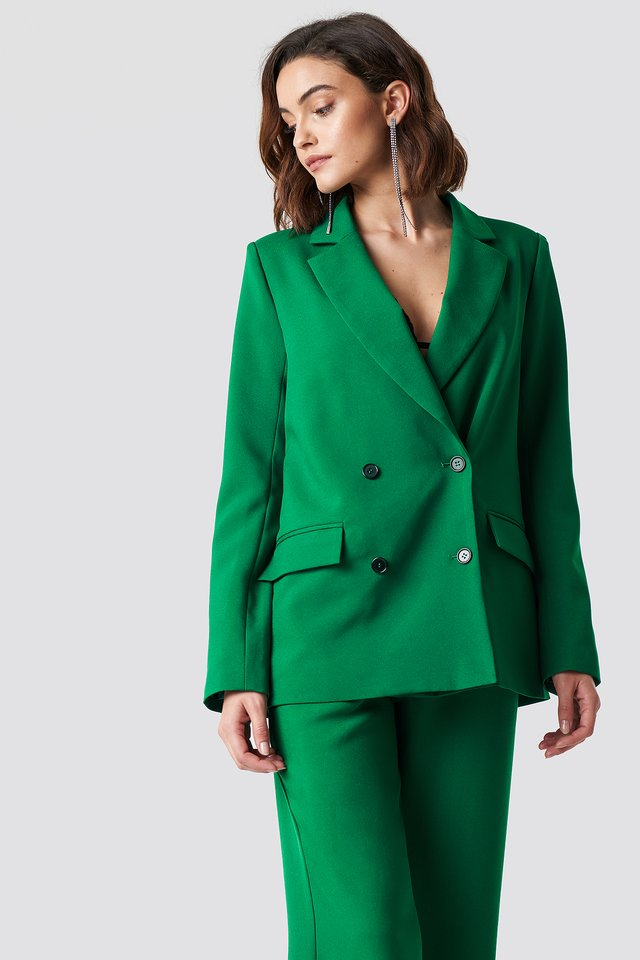 Double Breasted Oversized Blazer Green