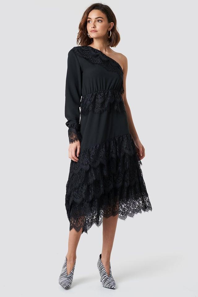 One Shoulder Asymmetric Lace Dress Black