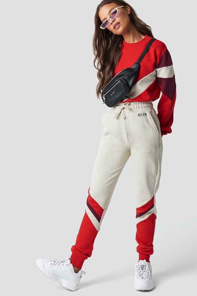 Stripe Blocked Sweatpants Light Beige