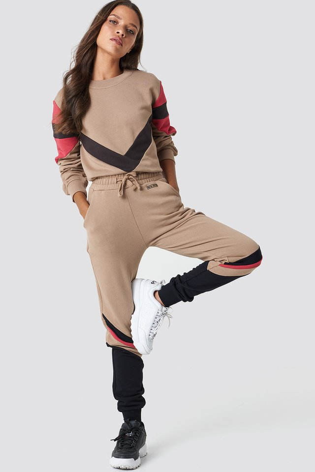 Stripe Blocked Sweatpants Golden Beige