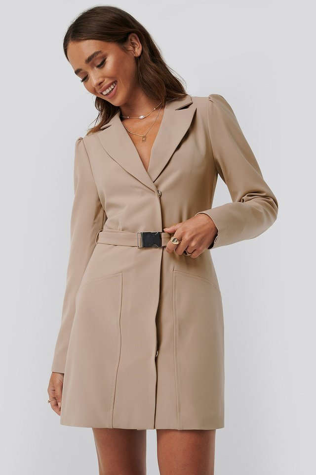 Belted Blazer Dress Beige
