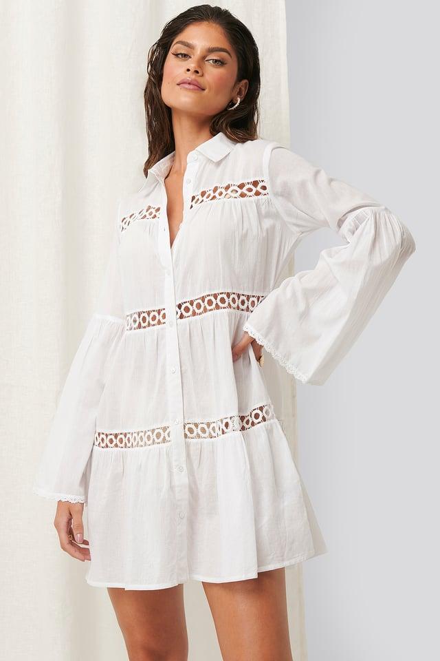 Crochet Detail Dress White
