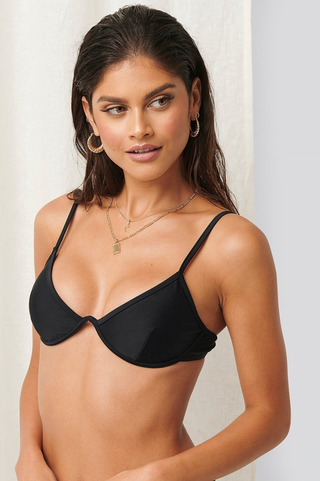 Cup Shaped Bikini Top Black