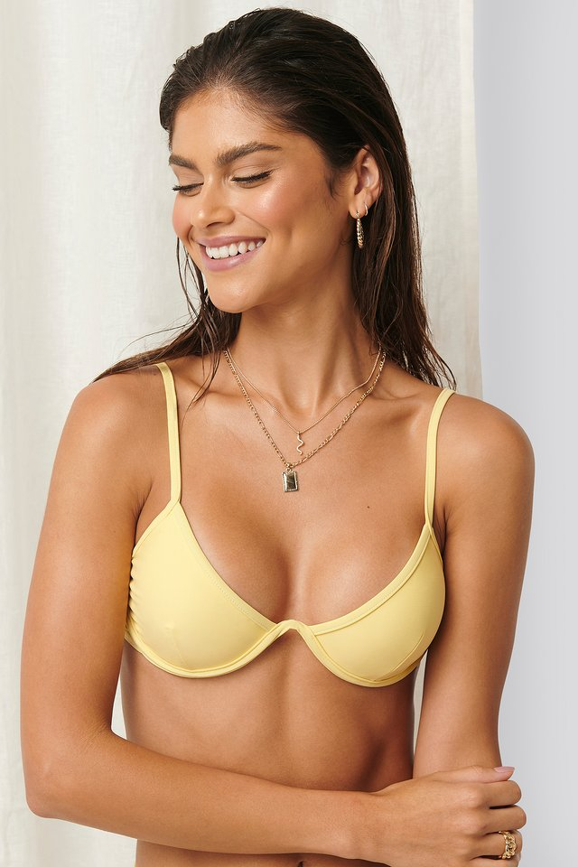 Cup Shaped Bikini Top Dusty Yellow
