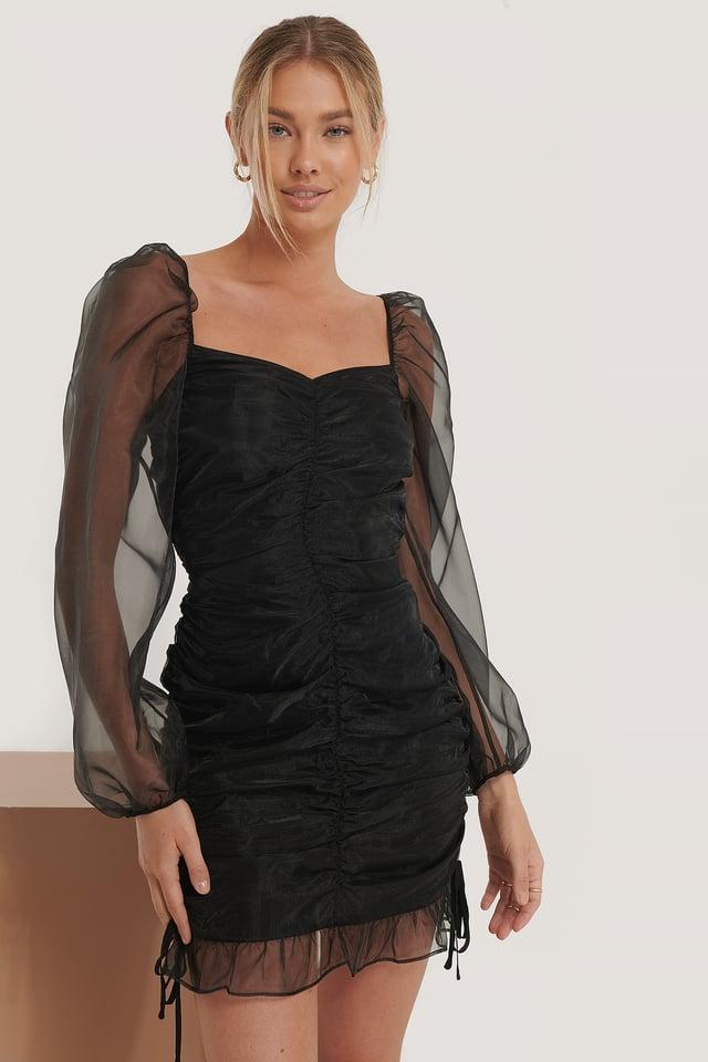 Kjole Med Organsadetaljer Black