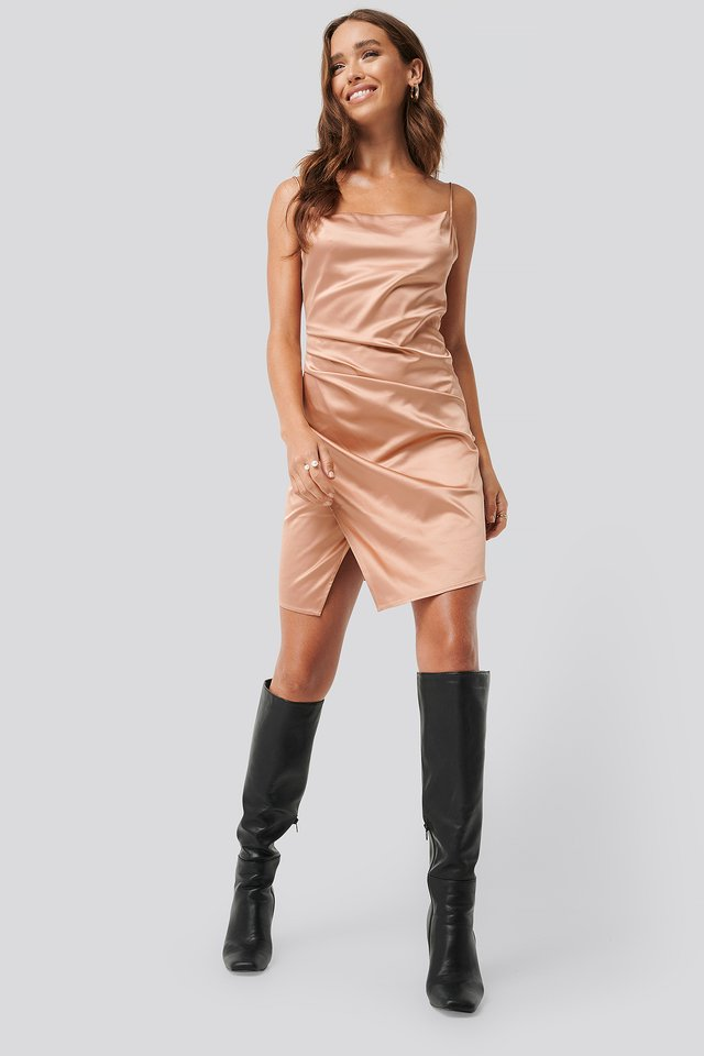 Draped Satin Dress Dusty Terracotta