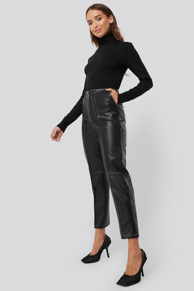 Black Faux Leather Front Seam Pants
