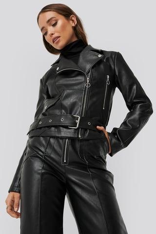 Black Faux Leather Seam Detail Jacket