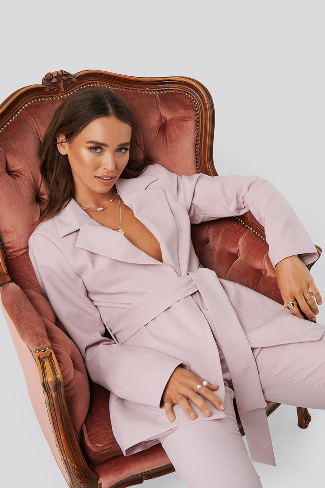 Front Tie Oversized Blazer Pink