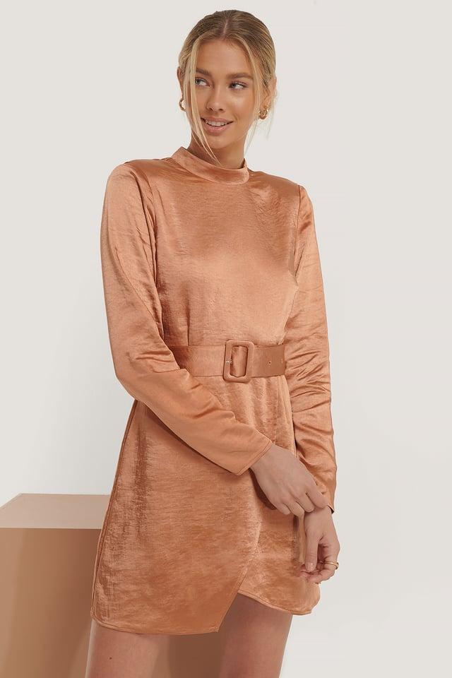 High Neck Satin Dress Caramel
