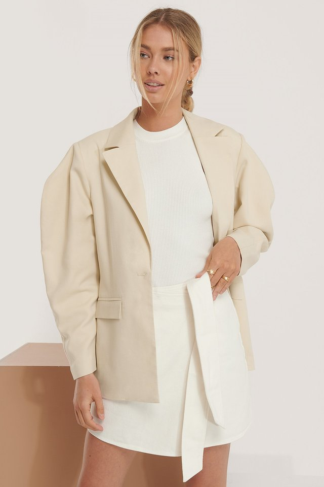 Beige Oversized Shoulder Blazer