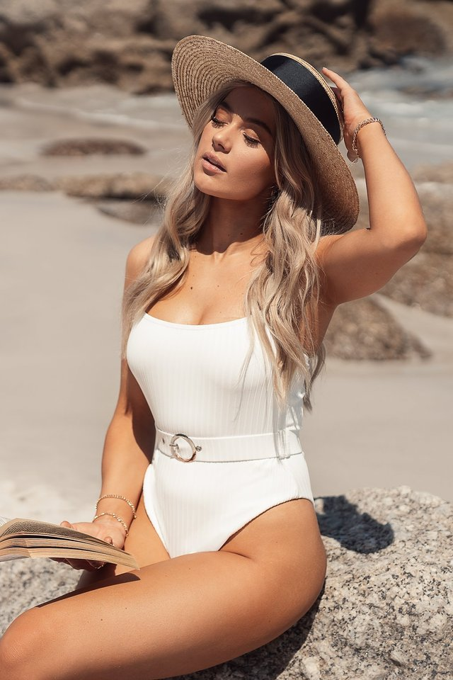 Ribbed Belt Detail Swimsuit White