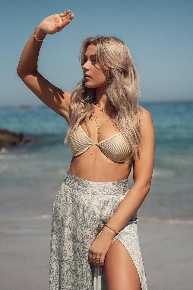 Ribbed Bikini Top Sand
