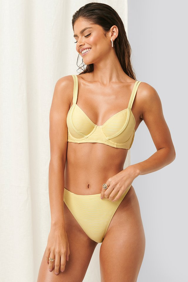 Ribbed High Leg Bikini Panty Dusty Yellow