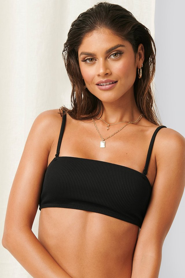 Ribbed Square Bikini Top Black
