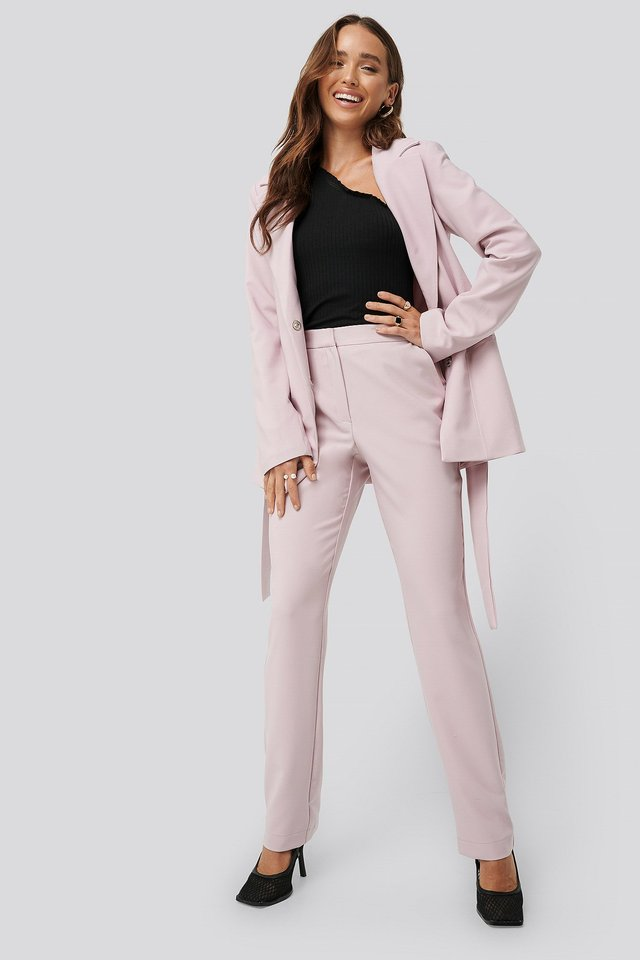 Straight Suiting Pants Pink