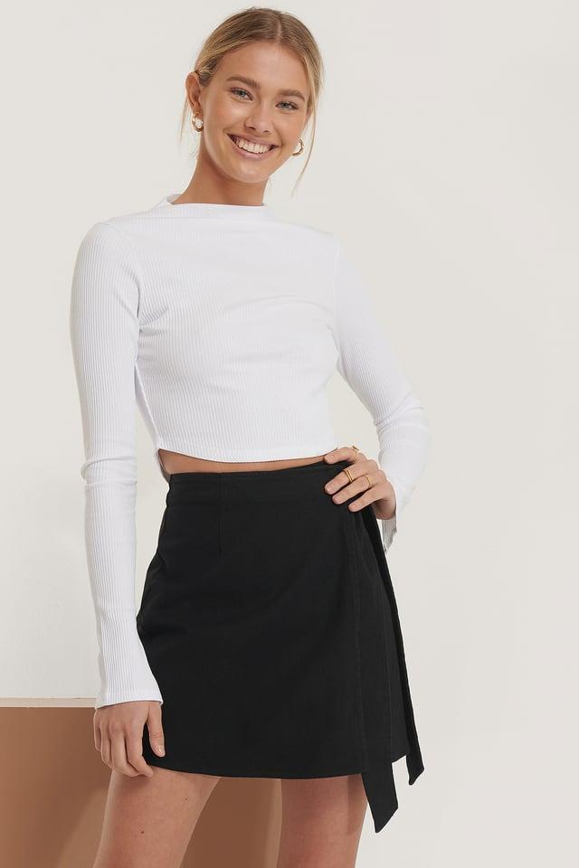 Tie Belt Overlapped Mini Skirt Black