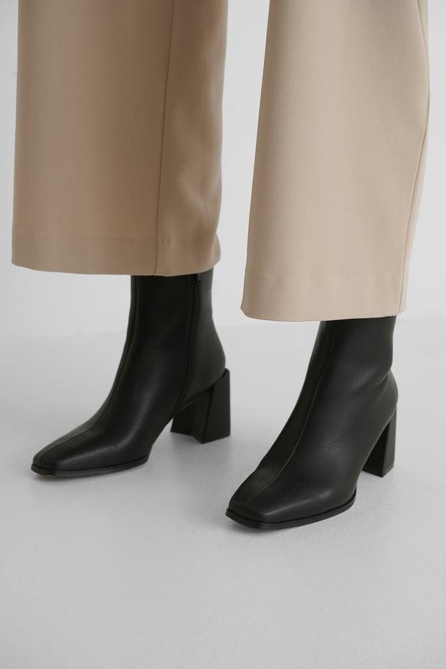 Square Toe Boots Black
