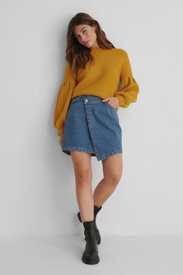 Asymmetric Waistband Denim Skirt Blue