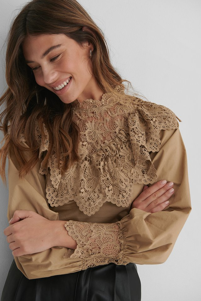 Balloon Sleeve Lace Detail Blouse Beige