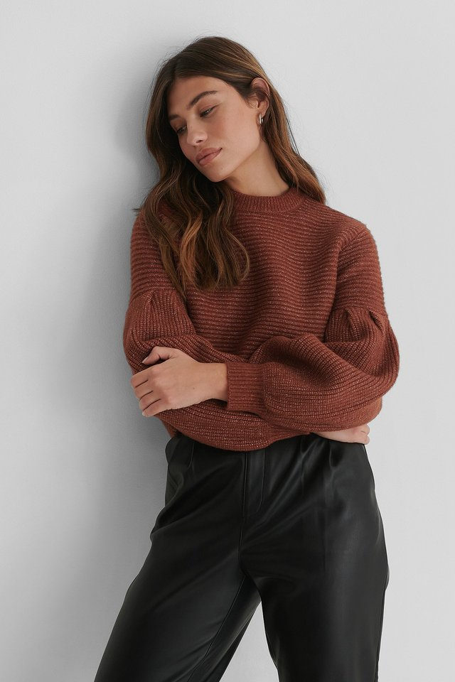 Dropped Puffy Sleeve Knitted Sweater Rust