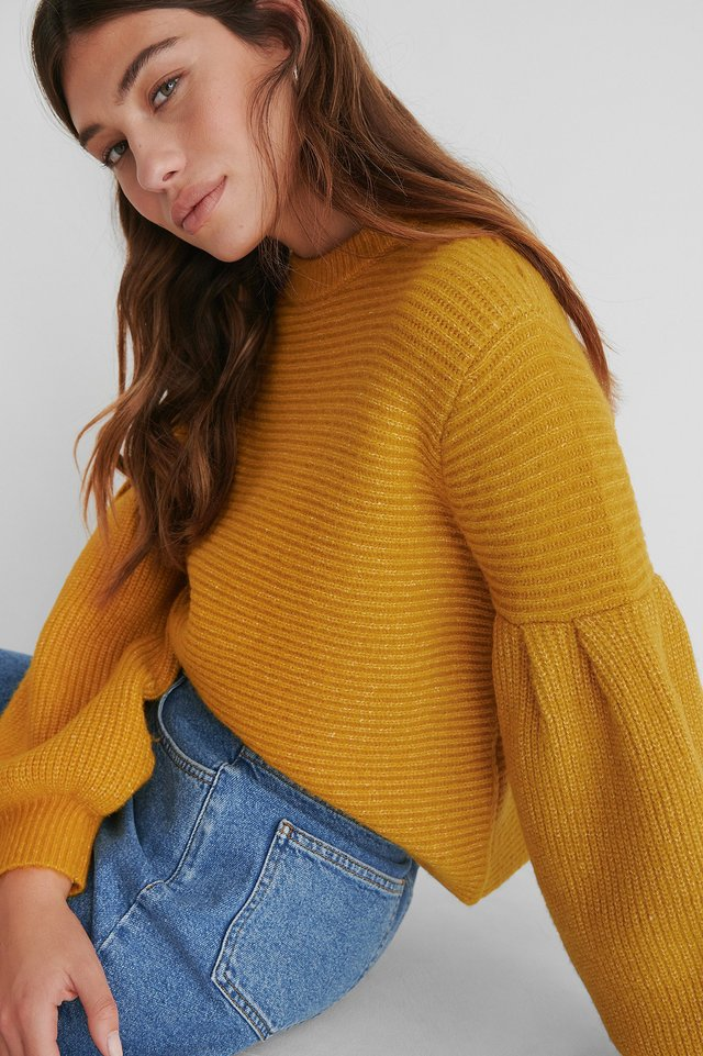 Dropped Puffy Sleeve Knitted Sweater Mustard
