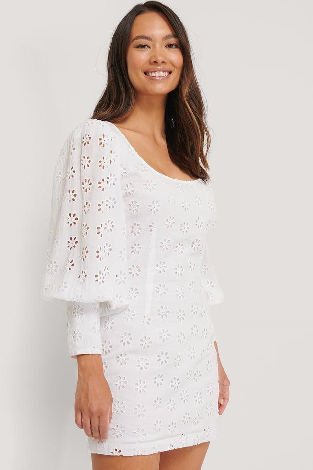 Balloon Sleeve Dress White