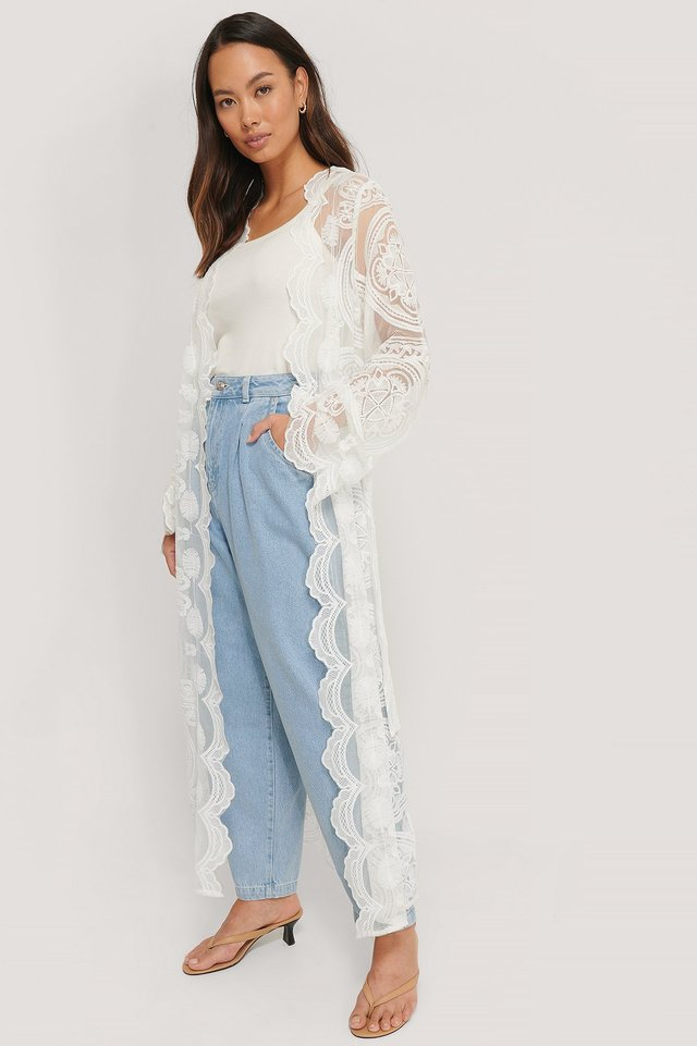 Lace Maxi Caftan White