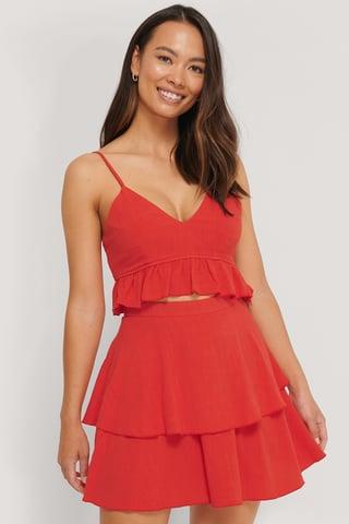 Red Linen Mix Frill Detail Skirt