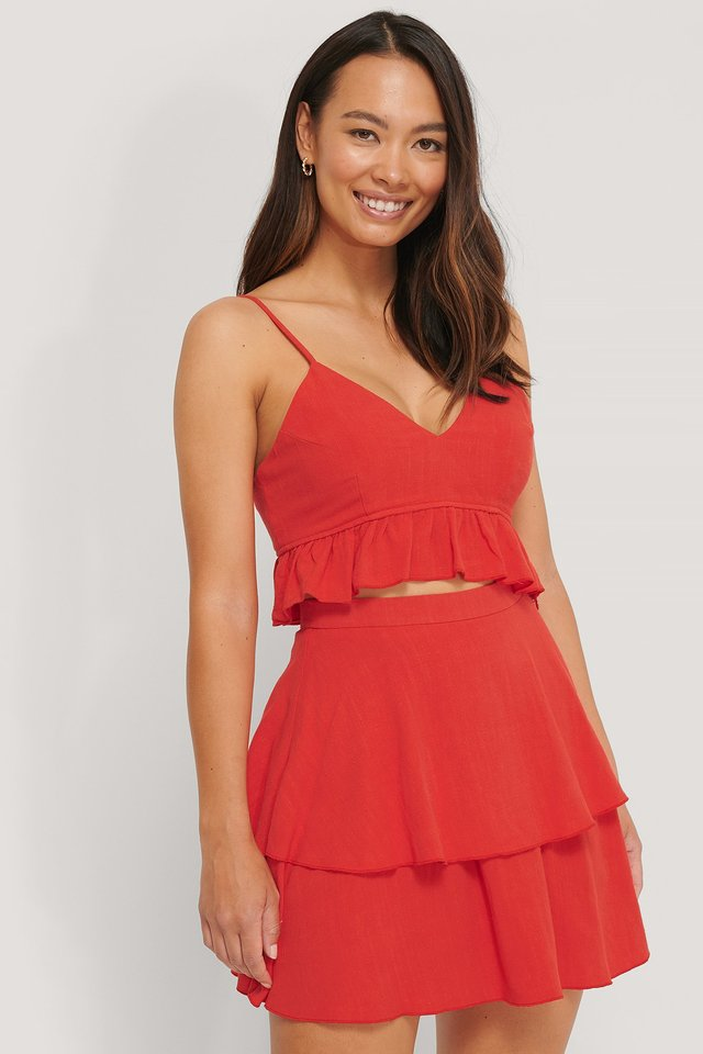 Linen Mix Frill Detail Top The Fashion Fraction x NA-KD