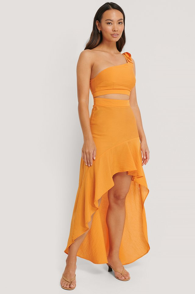 One Shoulder Maxikjole Burnt Orange