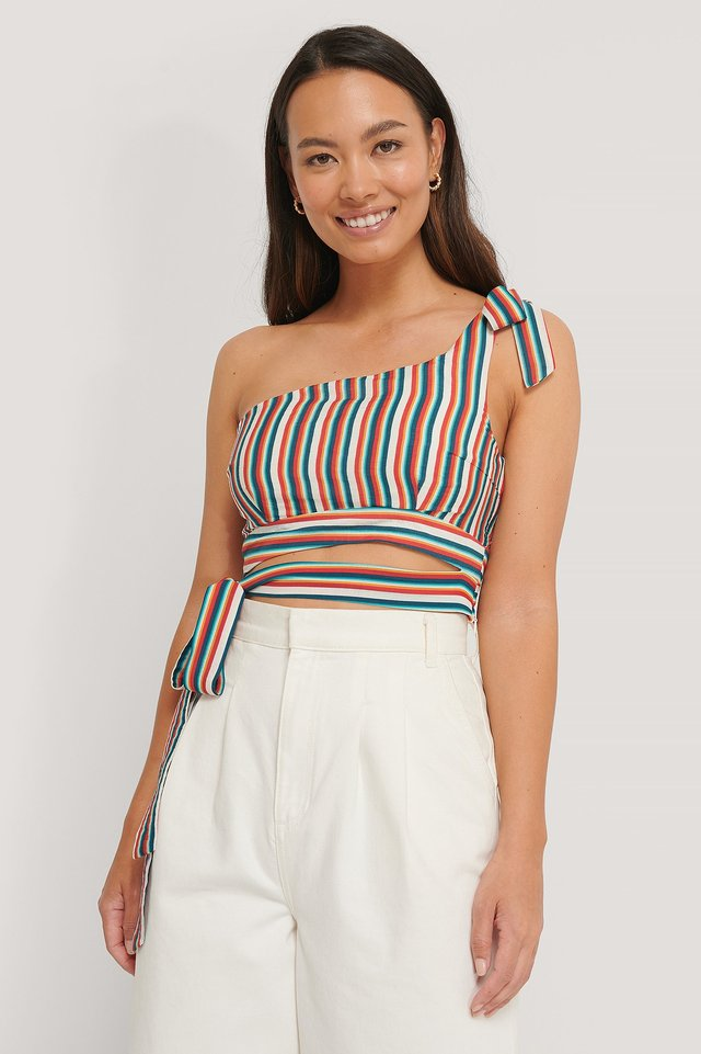 One Shoulder Top Stripe Print