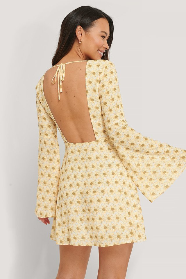 Open Back Trumpet Sleeve Dress Flower Print