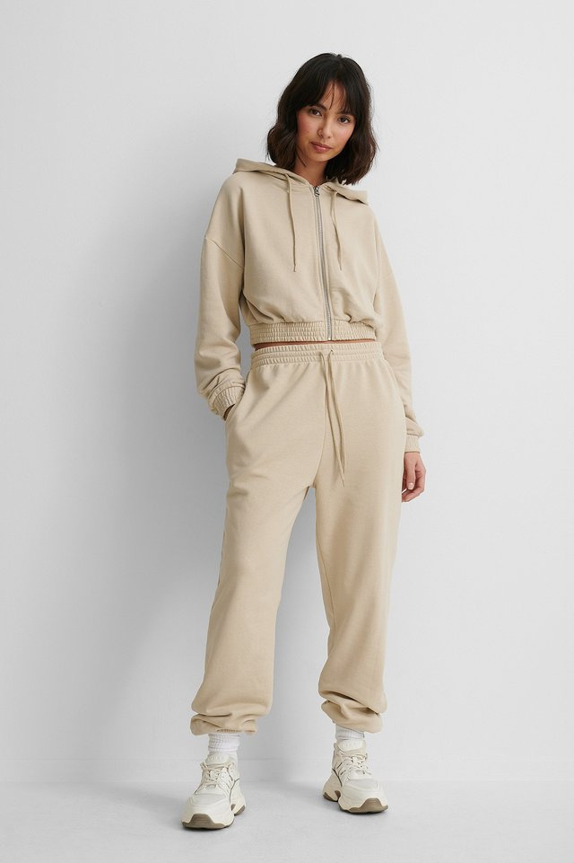 Felt Pocket Detail Sweatpants Beige