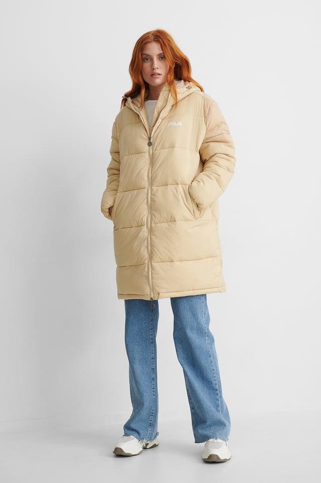 Cream Bronwen Puff Hood Jacket