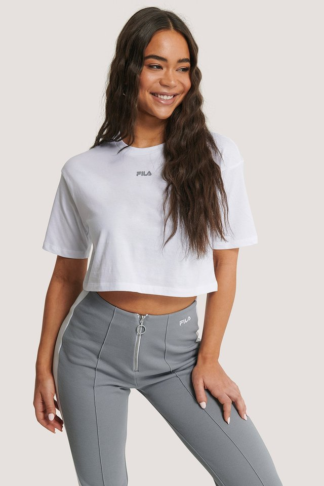 Magola Oversized Cropped Tee Bright White