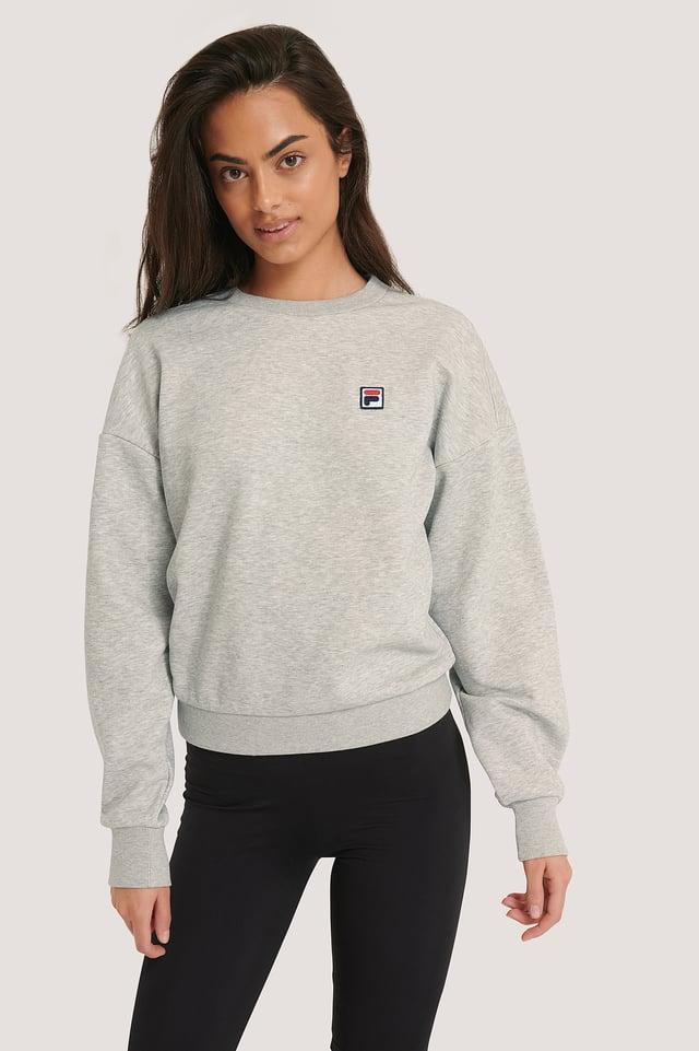 Light Grey Melange Sweter Z Półokrągłym Dekoltem