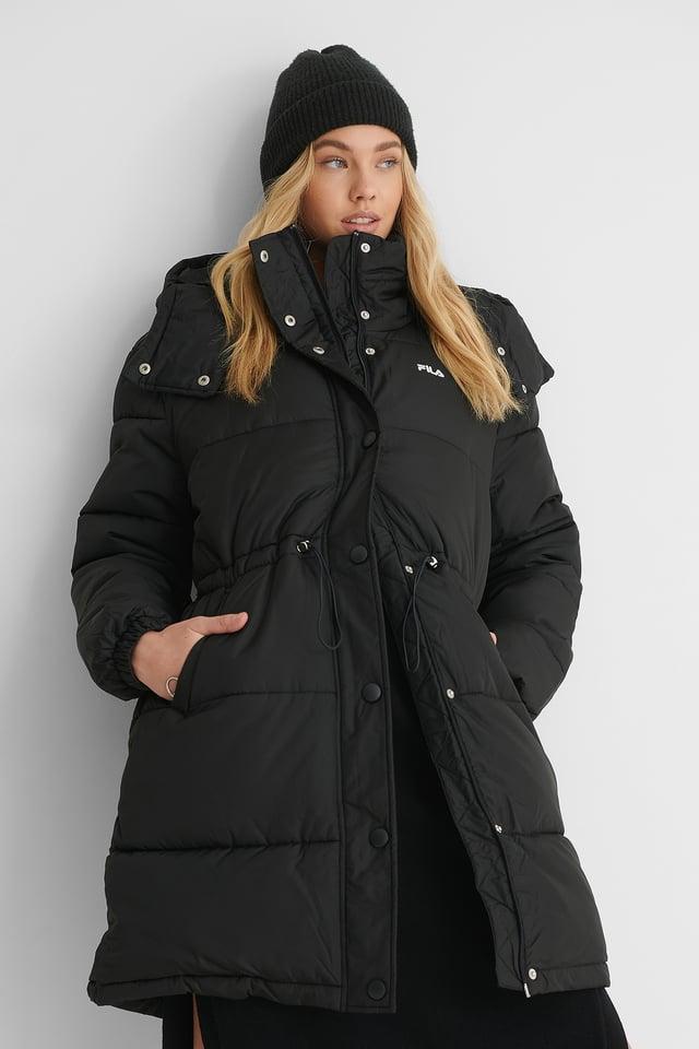 Black Übergroße Lange Pufferjacke