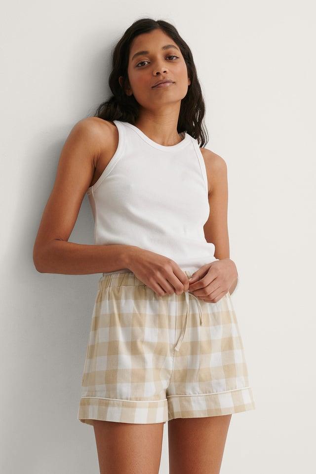 Beige Check Flannel Pyjamas Shorts