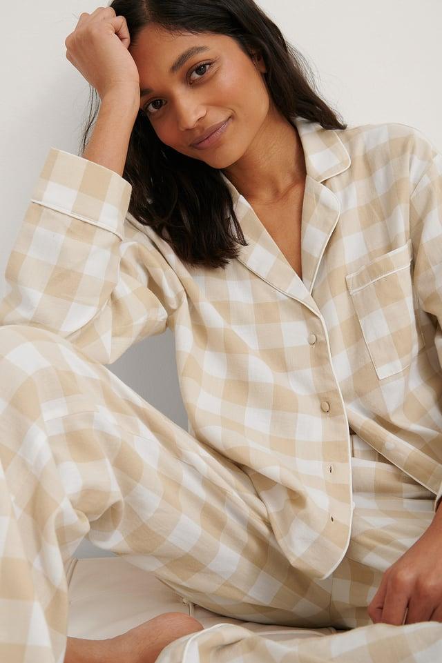 Beige Check Flannel Pyjamas Top