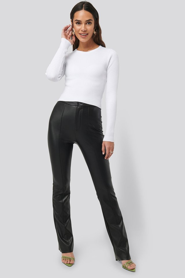Black Flared PU Pants