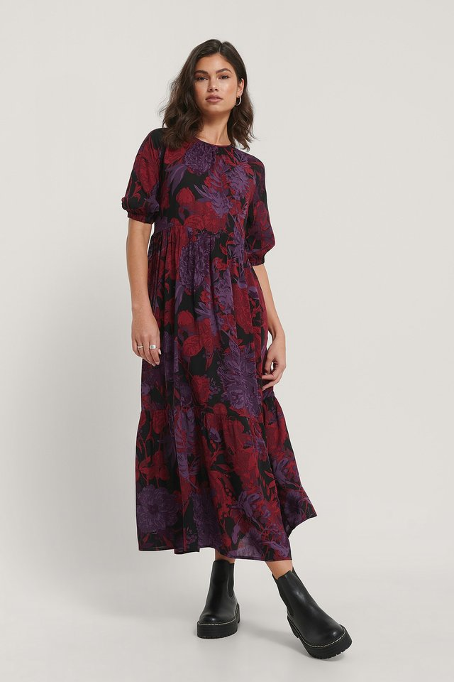 Flowy Shirt Sleeve Dress Red Purple