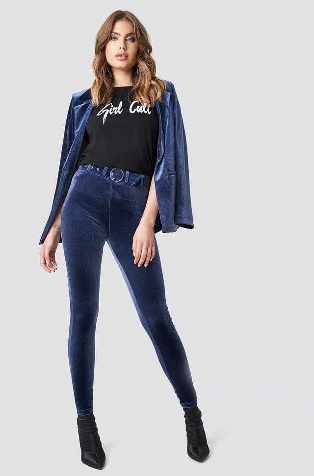 High Waist Belted Velvet Pants Blue